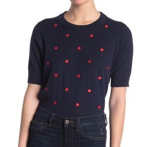 J. Crew NEW Rack Red Dotted Short Sleeve Sweater
